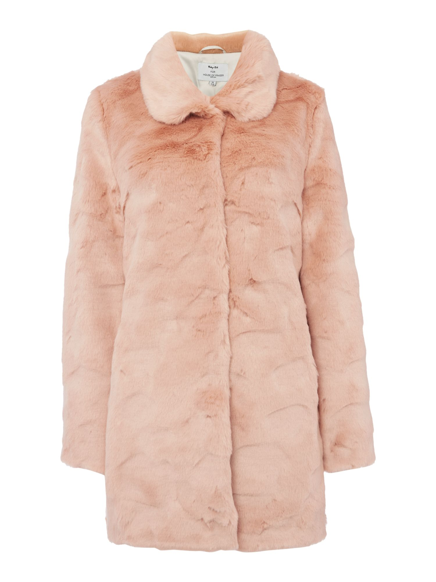Ruby + Ed Faux Fur Collar Coat, Pink