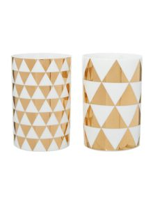 Bloomingville White and gold triangles votives