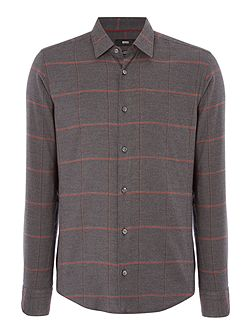 Reid F slim fit brushed large grid check
