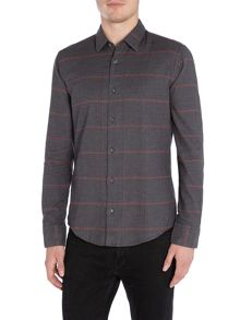Hugo Boss Reid F slim fit brushed large grid check shirt