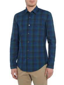 Hugo Boss Ronni 32 slim fit tonal large gingham check shirt