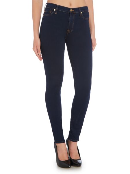 7 For All Mankind High waist skinny jean in rinsed indigo