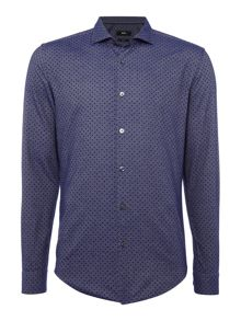Hugo Boss Ridley F slim fit twill spot long sleeve shirt
