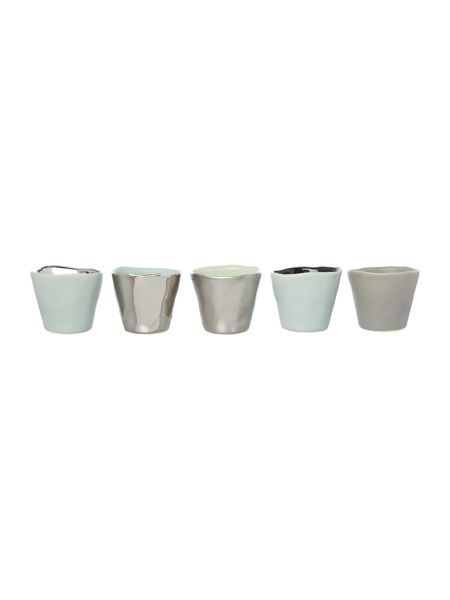 Bloomingville Grey, silver and mint votives, set of 5
