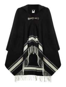 Max Mara Zulia hooded poncho with buckle