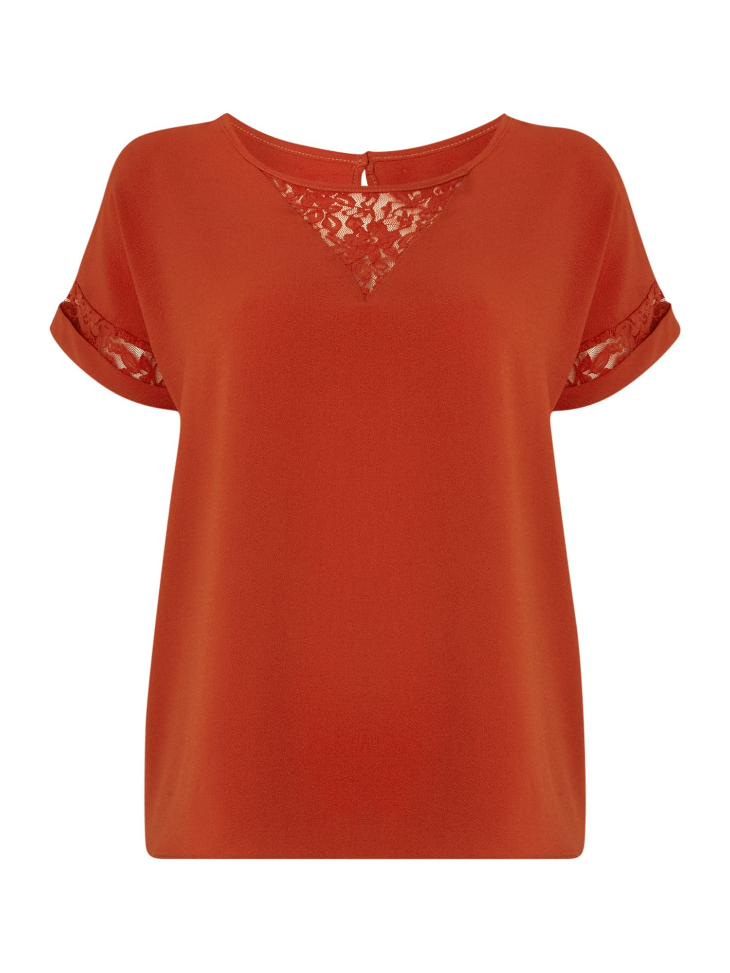 Therapy Lace Detail Blouse, Burnt Orange