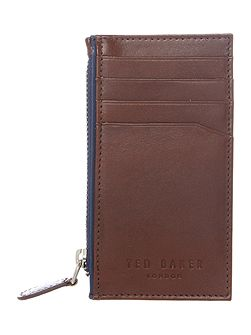 Crow Leather Card Holder with Zip