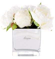 Linea White peonies in Mirror Cube