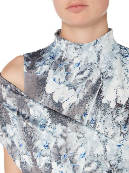 Label Lab Alondra hydrangea print cold shoulder dress