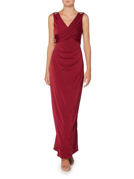 Ariella Jersey gown with shoulder embellishment