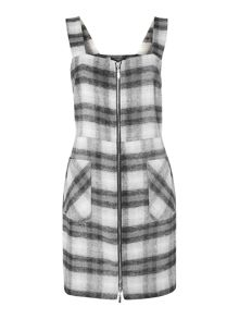 Therapy Faith Check Print Pinafore Dress