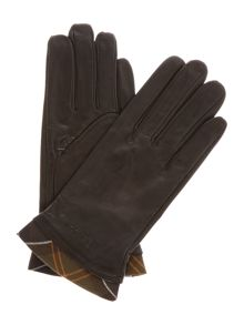Barbour Tartan trimmed leather glove