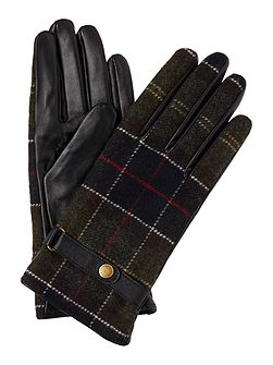 Tartan and leather glove