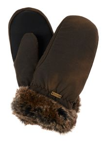Barbour Wax with fur trim mittens