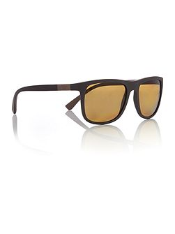Matte brown square EA4079 sunglasses