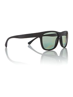 Matte black square EA4081 sunglasses