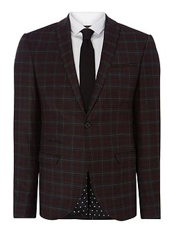 Axl SB1 peak lapel check skinny suit jacket