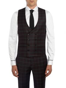 Label Lab Axl flannel check skinny suit waistcoat