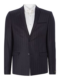 Zepplin SB2 flannel stripe skinny suit jacket