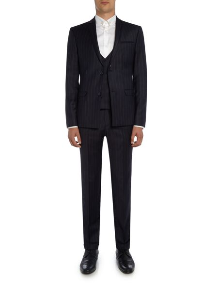 Label Lab Zepplin SB2 flannel  stripe skinny  suit jacket