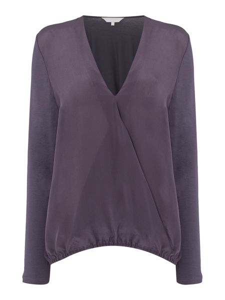 Gray & Willow Siar silk front jersey back wrap blouse