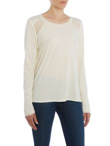 Maison Scotch Long sleeve jersey panel top