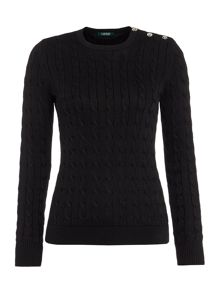 Lauren Ralph Lauren Verionika Crewneck Jumper with Button Detail
