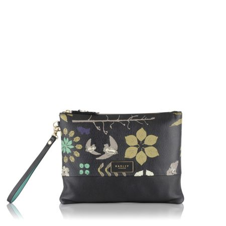 Radley Herbarium black medium clutch bag