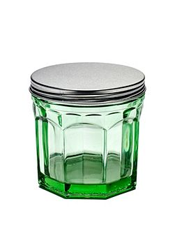 Jar with lid small transparent green