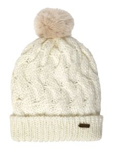 Barbour Faux fur pom pom beanie hat