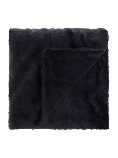 Linea Black faux fur throw