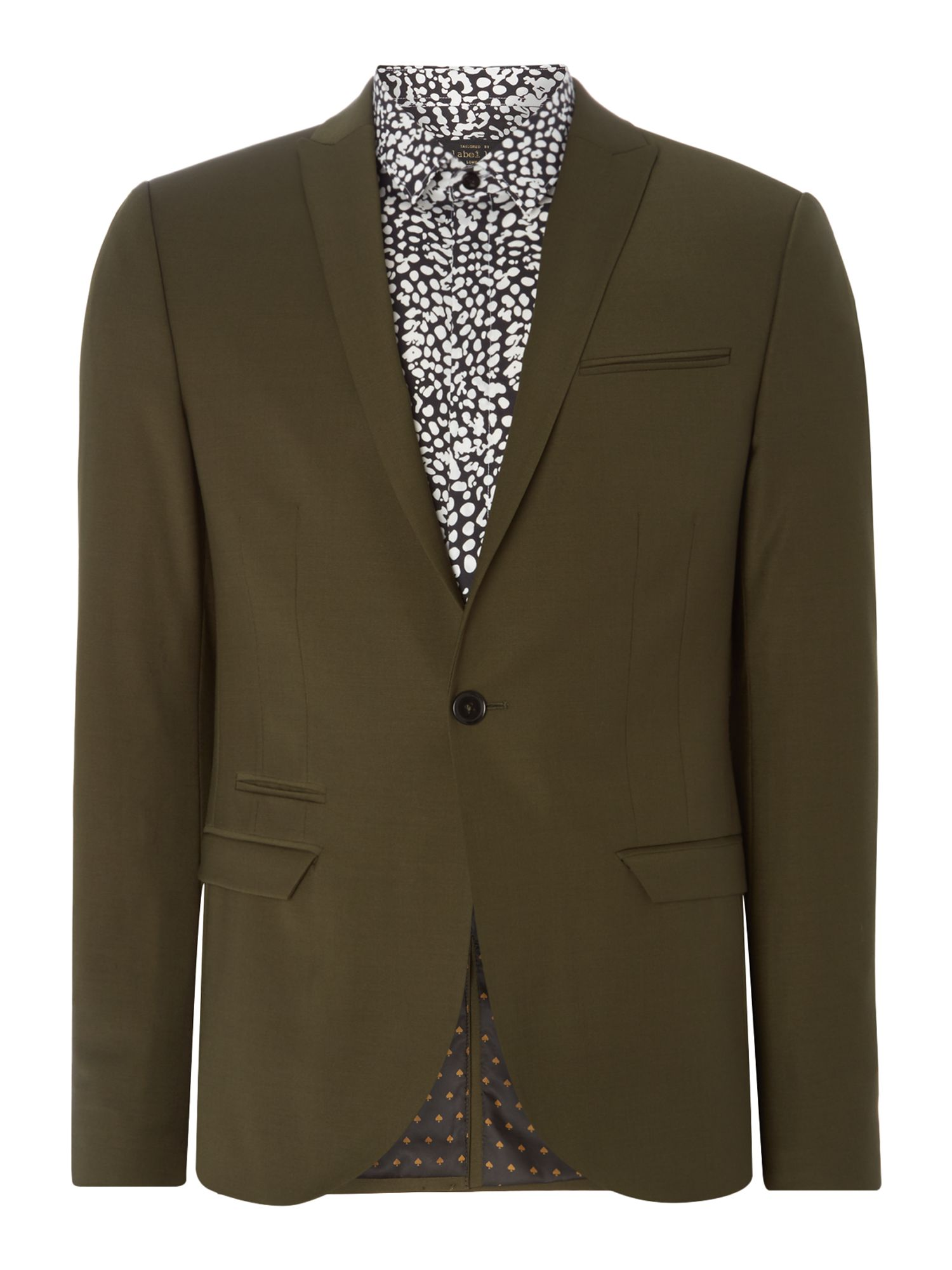 Mens Label Lab Rutherford Peak Lapel Skinny Suit Jacket Khaki