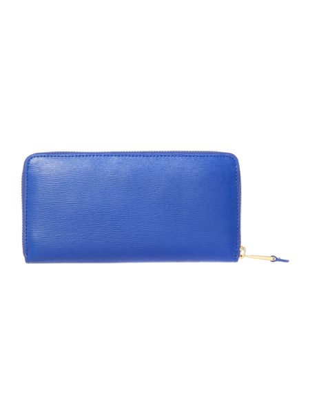 Lauren Ralph Lauren Newbury blue large ziparound purse