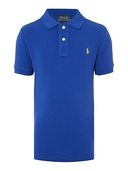 Boys Solid Mesh Polo Shirt