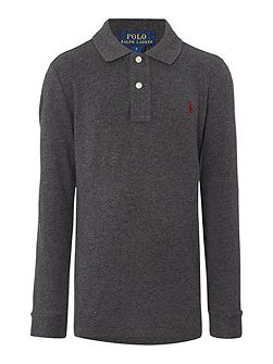 Boys Solid Mesh Long Sleeve Polo Shirt