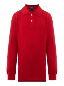 Polo Ralph Lauren Boys Solid Mesh Long-Sleeve Polo Shirt
