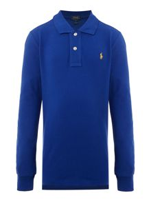 Polo Ralph Lauren Boys Solid Mesh Long Sleeve Polo Shirt