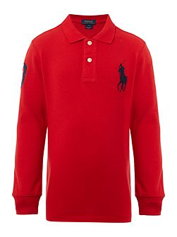 Boys Solid Mesh Polo Shirt with Big Polo