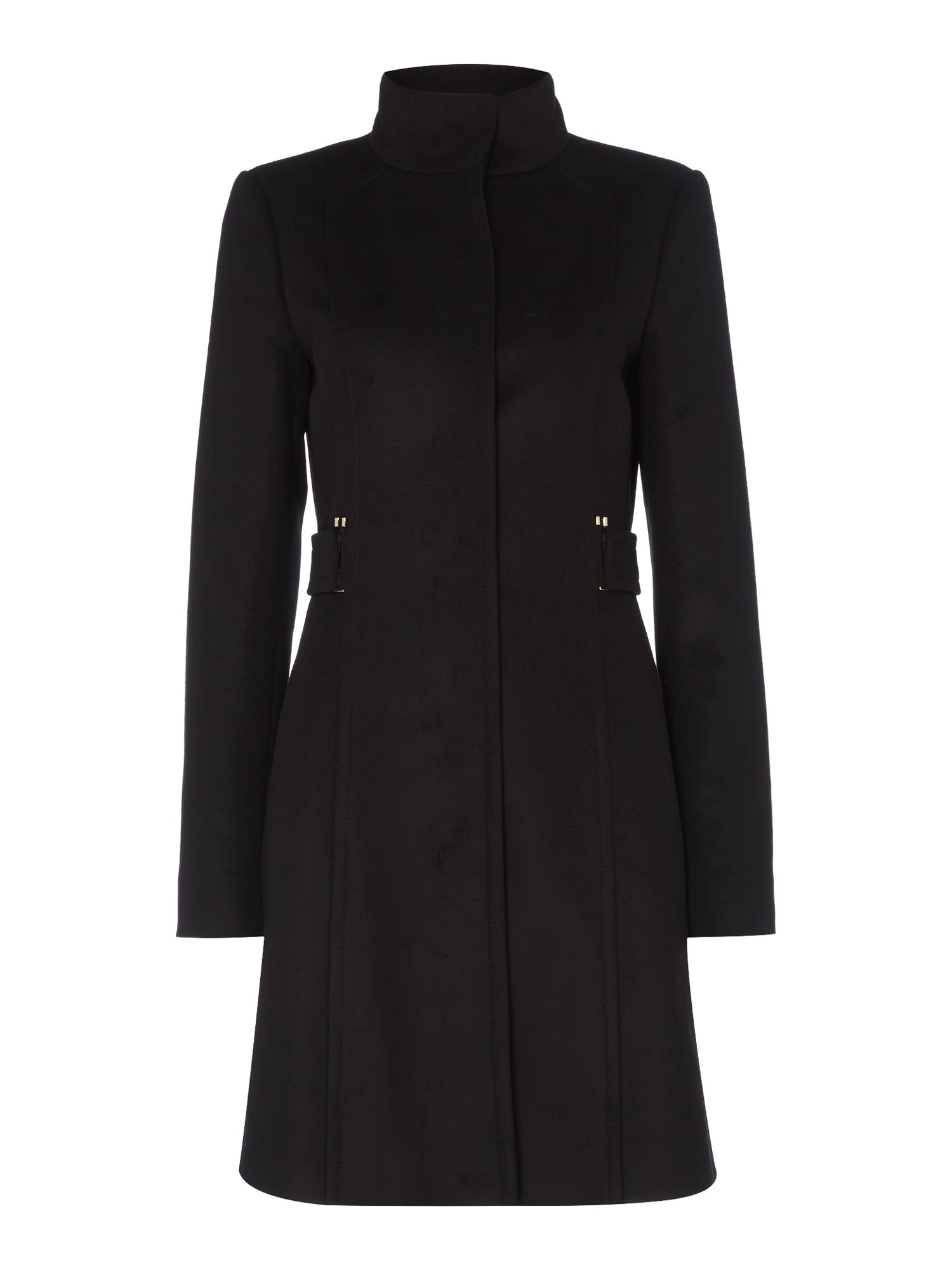 Hugo Boss Cielina Funnel Neck Side Belts Wool Coat, Black
