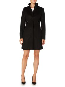 Hugo Boss Cielina Funnel Neck Side Belts Wool Coat