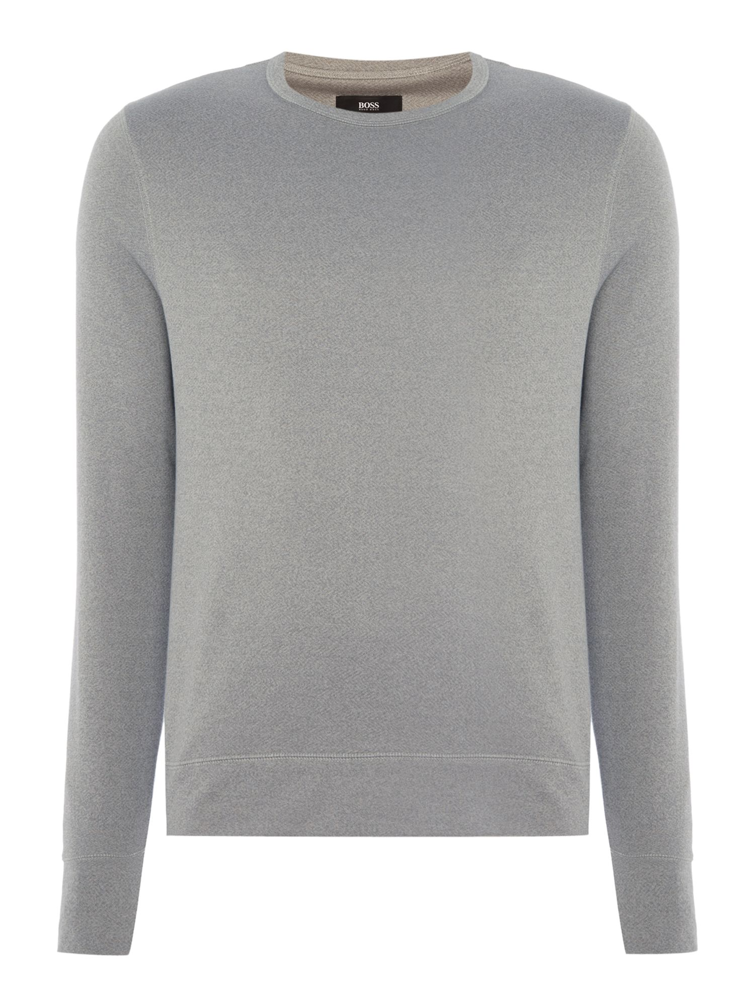 Men's Hugo Boss Skubic 9 slim fit herringbone crew neck sweat top, Light Grey