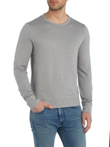 Hugo Boss Skubic 9 slim fit herringbone crew neck sweat top