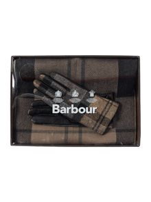 Barbour Tartan long scarf and glove gift set