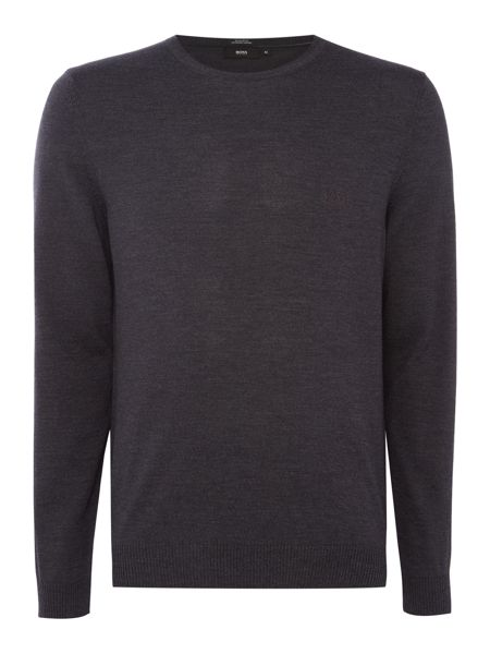Hugo Boss Bagritte B crew neck merino knitted logo jumper