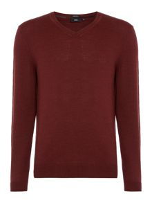 Hugo Boss Battise B v neck merino knitted logo jumper