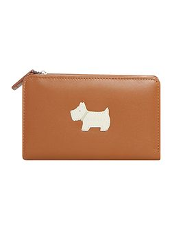 Heritage dog tan medium ziparound purse