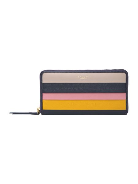 Radley Willow stripe navy large ziparound purse
