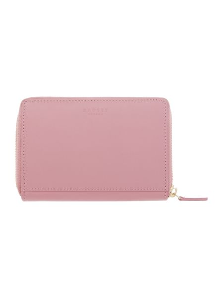 Radley In stitches pink medium ziparound purse