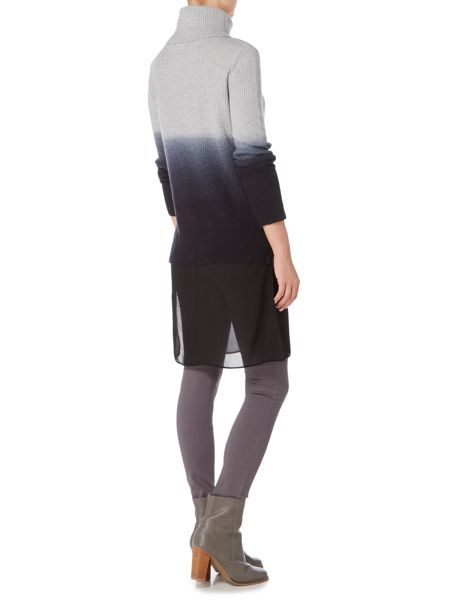 Gray & Willow Dip Dye Knit and Woven Tunic