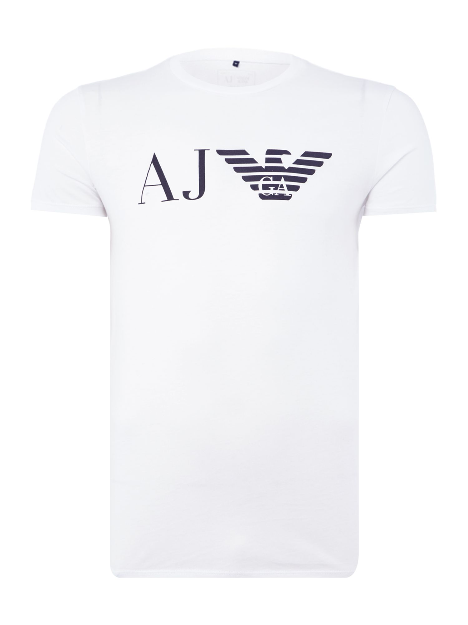 Men's Armani Jeans Regular fit AJ eagle logo printed t shirt, White